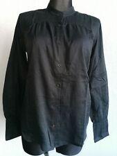 Crew Clothing Co womens cotton long sleeve black blouse size UK 10