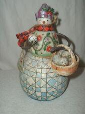 Jim Shore Snowman Figurine w/Snowballs & Basket MIB 4006030D