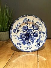 ANTIQUE c1860 WEDGWOOD WATER NYMPHS PATTERN BLUE & WHITE PEARLWARE CABINET PLATE