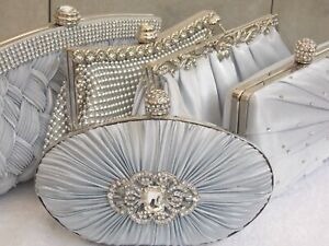 Silver Diamante Crystal Satin Bridal Wedding Prom Purse Clutch Handbag Bag UK