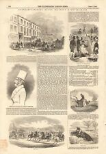 1844 ANTIQUE PRINT - NORTHAMPTONSHIRE GRAND MILITARY STEEPLECHASE,CROXTON PARK R