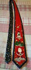 Hallmark Golfers Tie Christmas Silk Santa & Snowman Cool Yule