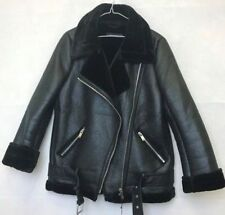 Ladies Womens Real Leather shearling fur Aviator Becker Style Zip Buckle Jacket