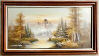 Vintage Original Oil on Canvas Painting Mountains Forest Lake Cabin Landscape