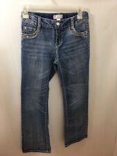 Xhilaration Girls Jeans Sz 12 Rhinestones Adjustable Waist Sandblasted Flare