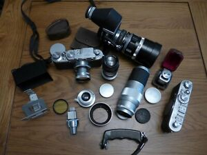 Leica range finder outfit, 2 cameras, selection of lenses and accessories
