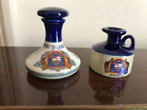2 x Pussers British Navy Rum Miniature Ceramic Decanter