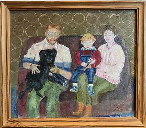 Naive Still Life Family Portrait . Original Painting.