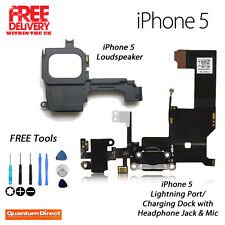 Replacement BLACK iPhone 5 Charging Dock/Port Assembly + Loudspeaker FREE Tools