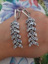 Graziosissimi orecchini pendenti a spiga in argento 925 e topazi