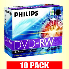 10 x Philips DVD-RW 4.7GB 2x Speed 120min Rewritable Blank Discs in Jewel Case