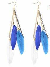 Fashion Earrings Boho Festival Boutique Uk Blue White Feather Luxury Long Tassel