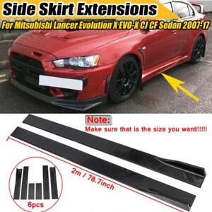 Carbon Fiber Side Skirt Splitters Rocker Extension For MITSUBISHI LANCER EVO X