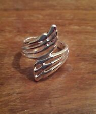Silver Coated Angel Wings Design Ring 18/19mm Design Free P&P