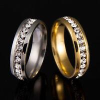 MEN WOMEN RHINESTONE TITANIUM STEEL PROMISE ENGAGEMENT WEDDING RING BAND SUPREME