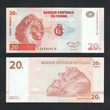 1997 CONGO DEMOCRATIC REPUBLIC 20 FRANCS P-88 UNC>LION KUNDELUNGU NATIONAL PARK
