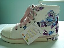 Geox Cream Lilac Floral Butterfly Canvas Hi-top Trainers UK 13 (eur 32)