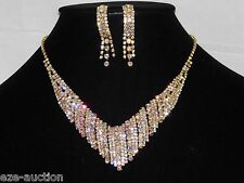 Bridal Gold With Clear & AB Iridescent Rhinestone Necklace and Earrings Set