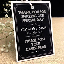 Personalised Chalkboard Style Vintage Wedding POST BOX TAG Card Sign A5