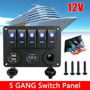 Car ON-OFF Push Rocker Toggle Switch 2 USB Ports Charger Panel Kit Accessories