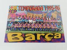 POSTAL FC BARCELONA PLANTILLA TEAM 1995 1996 95-96 SEASON FOOTBALL POSTCARD