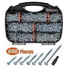 Trox Coarse Threaded Pocket Screws Zinc Plated Wood Screw Assortment Kit 690pcs