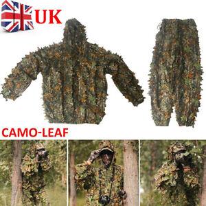 3D Leaf Camouflage Ghillie Suit Set Clothing Jungle Forest Hunting Sniper Train