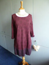 WHITE STUFF BURGUNDY WINE FLORAL MINI DRESS SZ14 TUNIC PLAIN HEM PANEL
