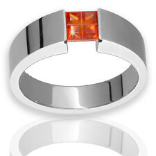 Titanium Ring W Orange Cubic Zirconia Tension Set 5x4mm Polished Wedding Band