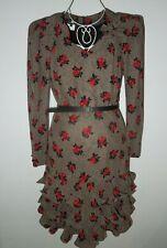 ESCADA By Margaretha Ley Vintage Roses Ruffle Silk Dress