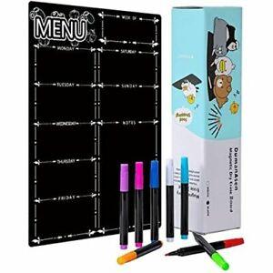 Magnetic Weekly Planner Dry Erase Board Fridge Calendar Menu Planner + 8 Markers