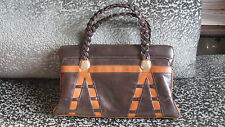 Vintage 70s 80s Faux Brown Leather Clutch Handbag Purse Vegan Hippie Boho Mod