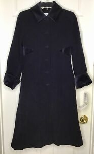NWT NEW Girls FLORENCE EISEMAN Navy Blue Velvet Trim Wool Cashmere Long Coat 12