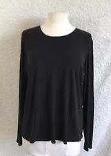 Eileen Fisher Women's Shirt Size XL 100% Silk Black Long Sleeve Blouse Top Z10