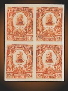 1904 HAITI PRES. PIERRE NORD-ALEXIS BLOCK OF 4 IMPERFORATED -PROOF -SPECIMEN ???