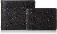 Coach Men's Black Signature Crossgrain Leather Bifold Wallet + Compact ID Wallet