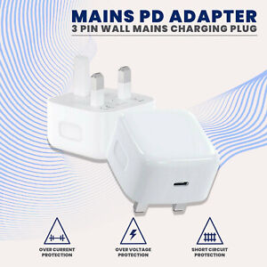 UK Plug PD 18W USB-C Type C Fast Wall Charger Adapter For iPhone 11 12 Pro XR