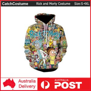 Rick and Morty Hoodie Pullover Hooded Teens Sweatshirts Jacket Coat Costume