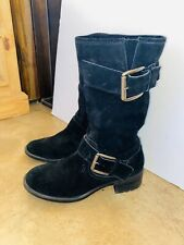 JESSICA SIMPSON BLACK SUEDE PULL ON MID CALF MOTORCYCLE BOOTS SHOES SZ 8 M