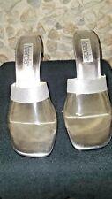 """Amanda (Mamie) ladies lucite & silver 3"""" wedge shoe"""
