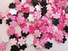 200 Chic Hot Pink & Black Satin/Felt Small Daisy Applique Mix/Padded H558-Flower