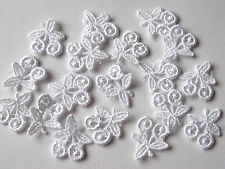 40 WHITE PETITE CUTE GIRLY CHERRY LACE MOTIF EMBELLISHMENTS 16MM X 19MM