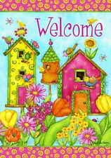 Welcome Bright Birdhouses Country Birds Garden Flowers Summer Fun Garden Flag