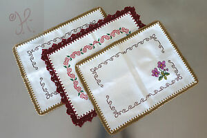 NEW HANDMADE COFFEE TABLE MAT LINEN SET OF 3 (15X11) WHITE RED GREEN COTTON