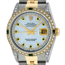 ROLEX MENS DATEJUST MOP DIAMOND AND EMERALD S/S & 18K YELLOW GOLD JUBILEE WATCH