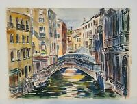 Signed Vintage 1960s Watercolor Painting Venice Italy Freda Leibovitz L. Reiter