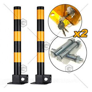 2X Black BOLLARD Fold Down Vehicle Security Car Parking Lock Safety Barrier AU