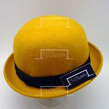 Wool Felt Soft Bowler Derby Women Top Hat | 57cm | Yellow | FASHION x FORMAL
