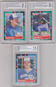Lot of 3 - 1988 - ROOKIE CARDS - (2) David Wells, Walt Weiss - GRADED MINT 9!!!