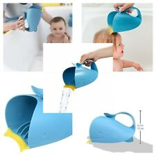 Rinse Bath Cup Baby Bathing Waterfall Rinser Cute Blue Whale Comfortable Handle